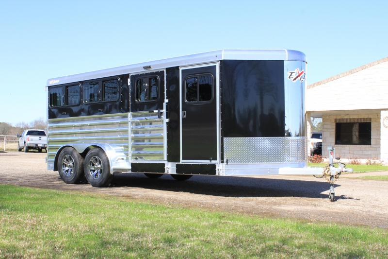 2021 Exiss Trailers 16ft Low Pro with 6 Pens and Front Tack Room Livestock Trailer