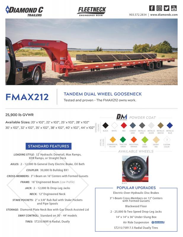 2022 Diamond C Trailers FMAX212 32x102HDT Equipment Trailer