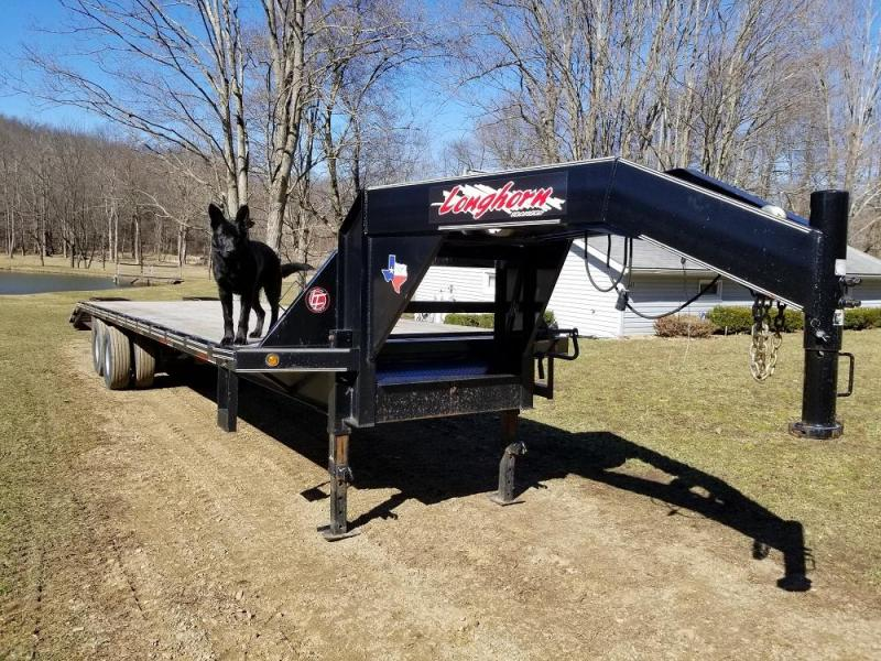 2017 Longhorn 32' Tandem Dual Gooseneck Flatbed Trailer w/ Dovetail and HD Ramps