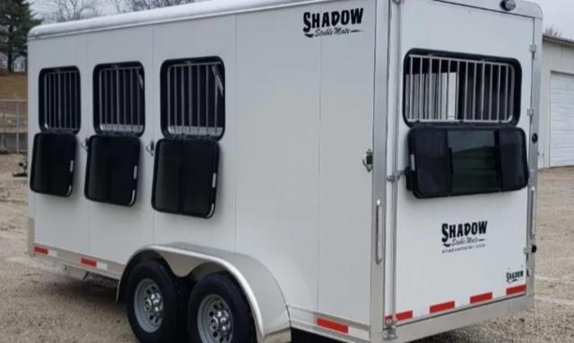 2021 Shadow 3 Horse Slant Bumper Pull Aluminum Trailer