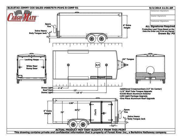 2015 Cargo Mate 8 x 18 Custom Enclosed Cargo Trailer