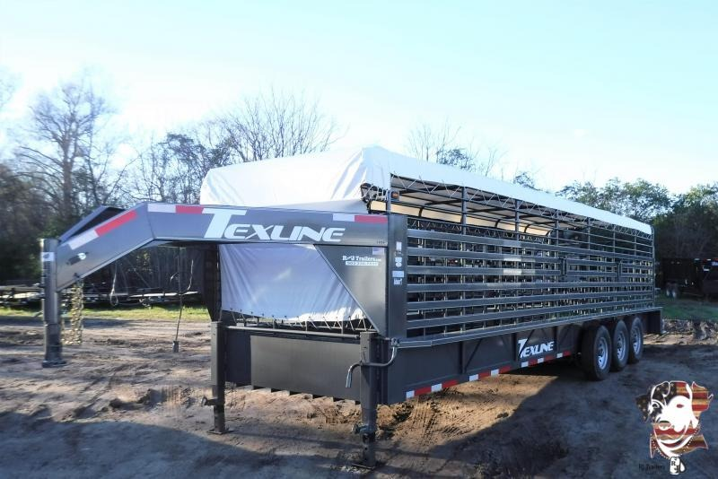2018 TexLine 28' Cattle Stock / Stock Combo Trailer