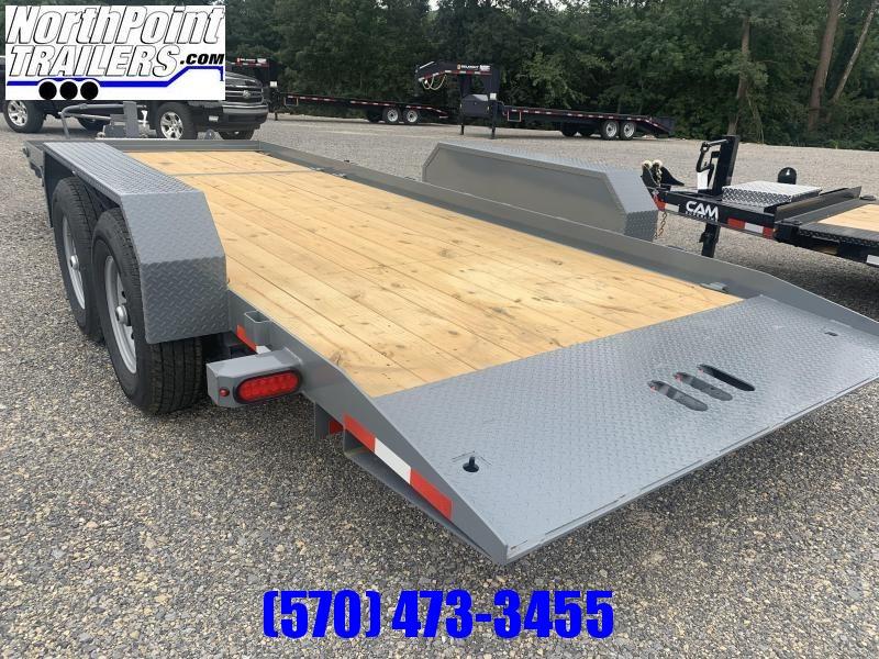 2022 CAM 20' Split Deck Tilt Trailer - 5' Stationary - 15' Tilt - 14000# GVWR - Gray