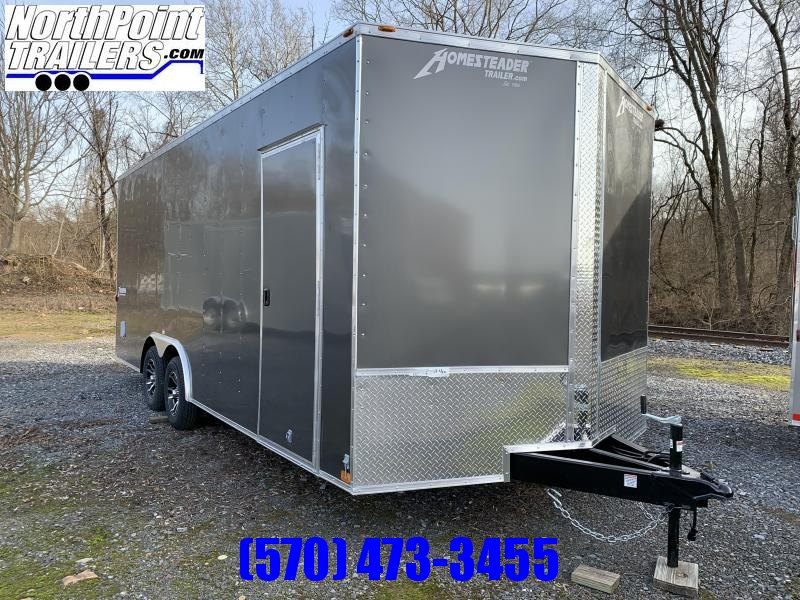"2021 Homesteader - 8 x 20' V-Nose Car/UTV Trailer - Ramp Door - Gray - 84"" Interior - Alum. Wheels"