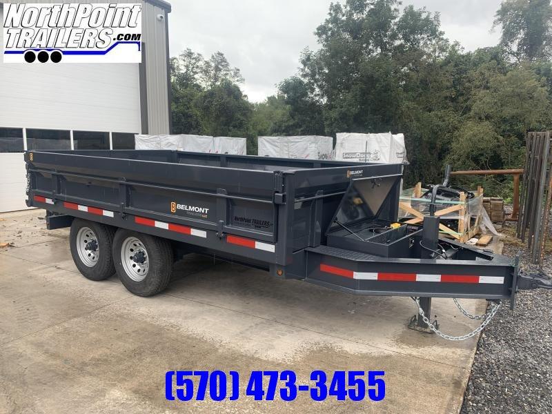 2022 Belmont Machine DT712DO-14K Dump Trailer w/ Fold down Sides - Barn Door Gates