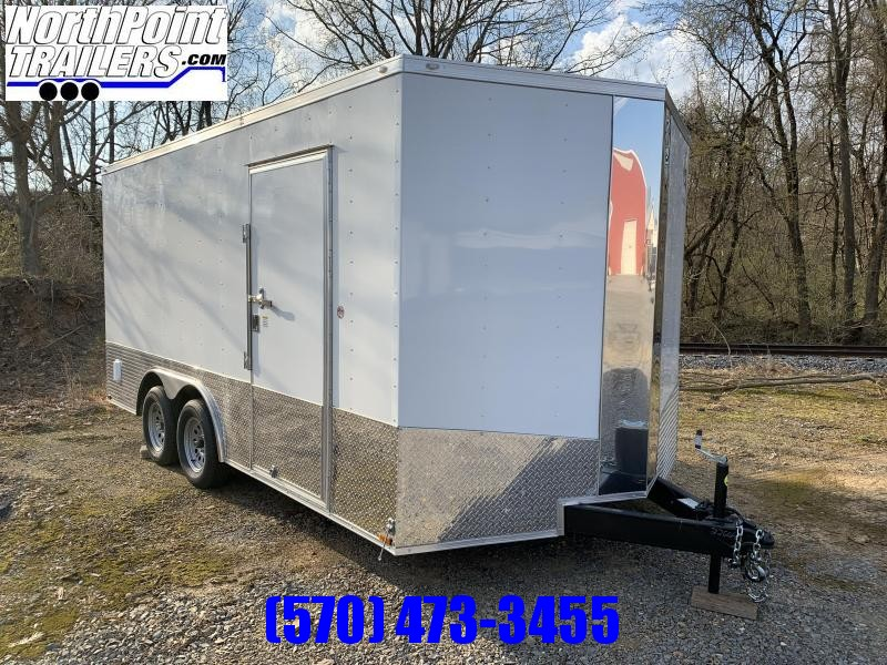 "Spartan SP8.5x16 Enclosed Trailer - White - 84"" Interior"