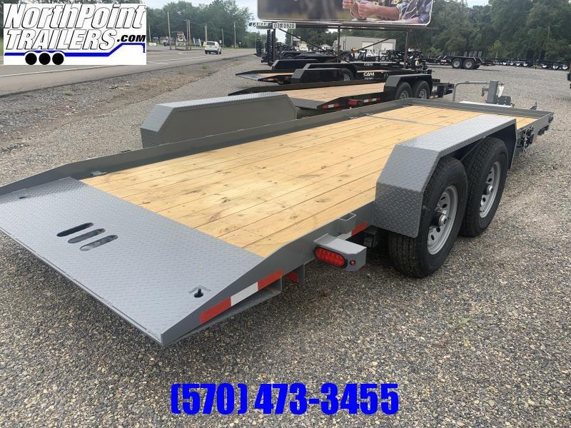 CAM 20' Split Deck Tilt Trailer - 5' Stationary - 15' Tilt - 14000# GVWR - Gray