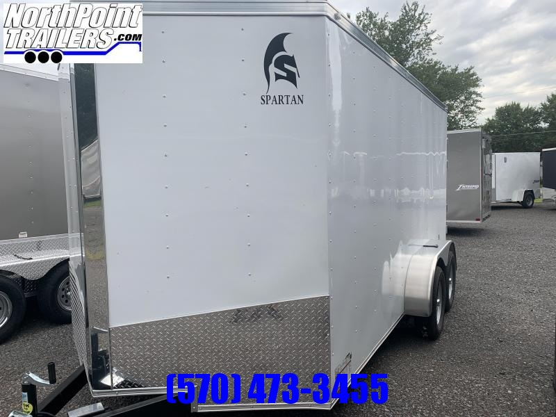 "2021 Spartan Cargo 7x14TA Cargo Trailer - White - HD DOUBLE REAR DOORS - 6'6"" INTERIOR"