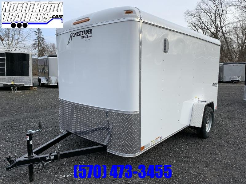 2021 Homesteader 612CS - 6x12 Cargo Trailer - White - Ramp Door