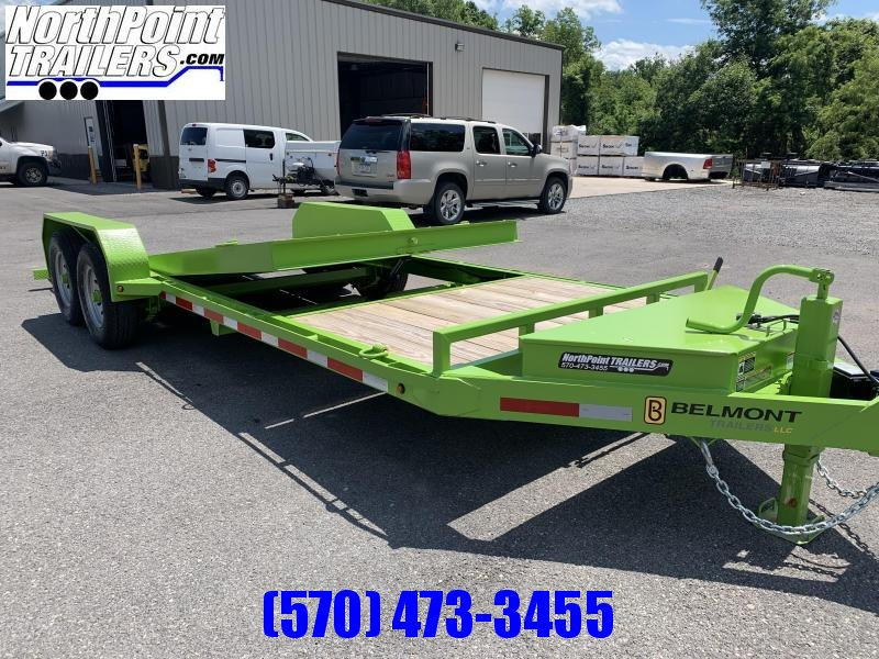 2020 Belmont Trailers - 22' Split Tilt Skidsteer Trailer - 12000 GVWR - Lime Green