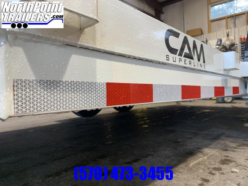 2022 Cam Superline 18' Car Hauler - w/ Removable Fenders - White w/ Black removable Fenders - Black Toolbox