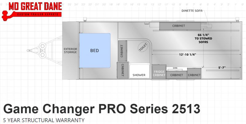 2021 ATC (2513) Pro Series Front Bedroom Aluminum Toy Hauler RV