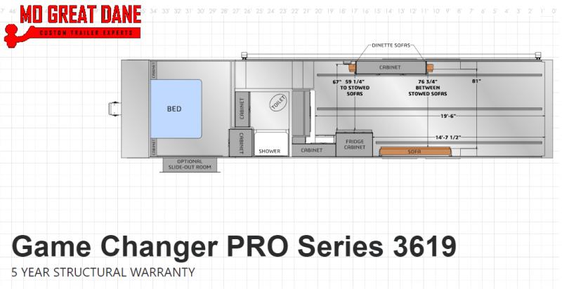 2021 ATC (3619) Pro Series Fifth Wheel Aluminum Toy Hauler RV