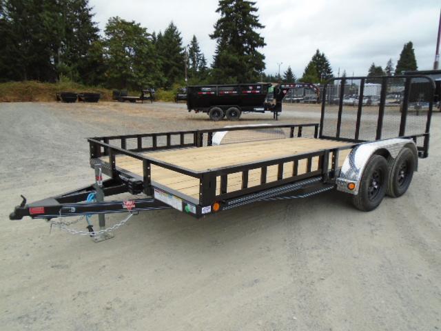 2022 PJ 7x16 7K Utility Trailer w/Side Mount ATV Ramps / Dovetail