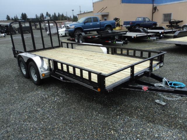 2020 PJ 7x16 7K Utility Trailer w/Side Mount ATV Ramps
