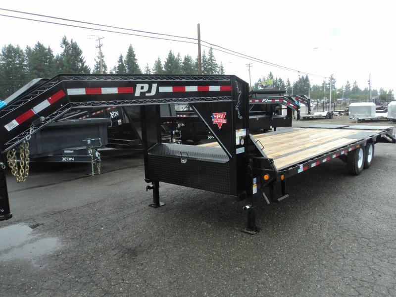 2021 PJ LS 8.5x25 Gooseneck Flatdeck with Monster Ramps