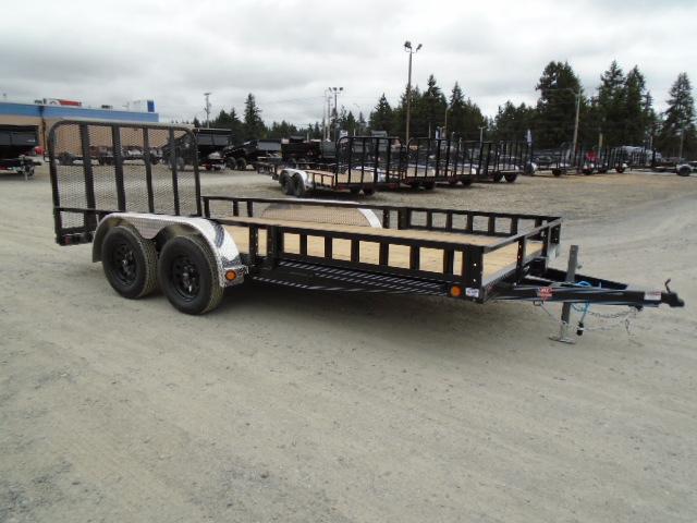 2022 PJ 7X18 7k Utility Trailer w/Dovetail/Fold Up Gate/Side Mount ATV Ramps/Tire Mount