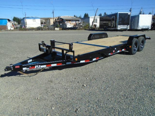 2021 PJ Trailers 7X22 14k/Spare Tire Mount/D-Rings Channel Equipment Tilt Trailer
