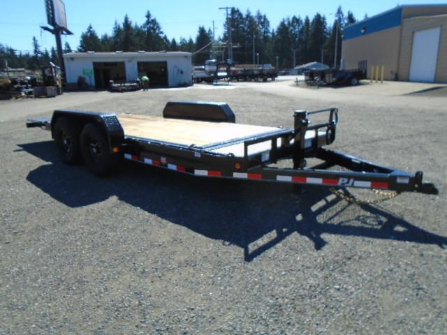 "2021 PJ Trailers 7x18 14K/Spare Tire Mount/D-Rings  6"" Channel Equipment Tilt Trailer"