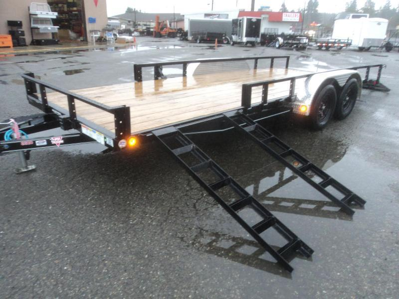 2021 PJ 7X18 7k Utility Trailer w/Fold In Gate/Side Mount ATV Ramps/Tire Mount