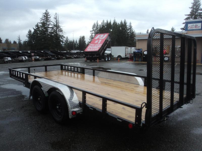 2021 PJ 7X18 7k Utility Trailer w/Fold In Gate/Side Mount ATV Ramps/Tire Mount
