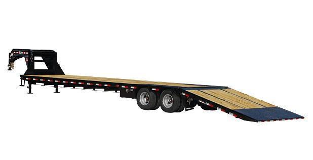 2021 PJ 8.5X32 25K Gooseneck Low-Pro with Hydraulic Dove Equipment Trailer