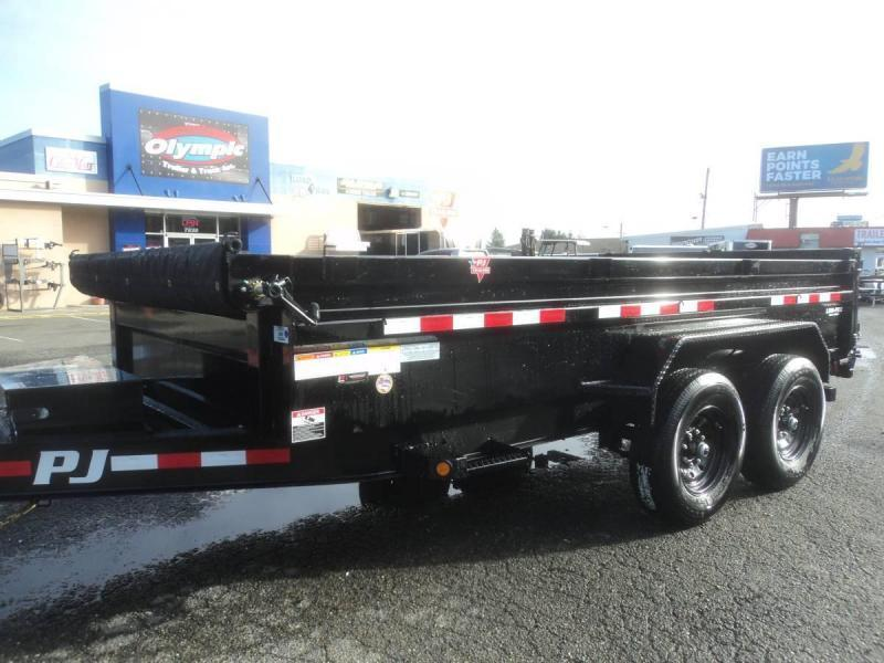 2021 PJ 7x14 14K Dump Trailer with Tarp Kit/Spreader Gate/Tire Mount