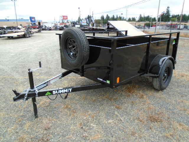 2022 Summit Alpine 5x8 Single Axle W/Split Ramp/Spare Tire & Mount Utility Trailer