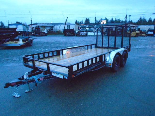 2022 PJ 7x16 7K Utility Trailer w/Side Mount ATV Ramps