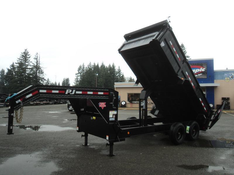 2021 PJ 7x16 22K Gooseneck Heavy Duty Low-Pro Dump Trailer