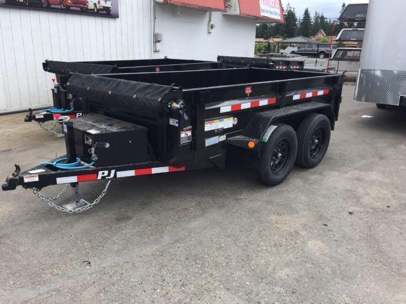 2021 PJ Trailers 5x10 10K w/Tarp Kit/Tire Mount/Split Gate Dump Trailer