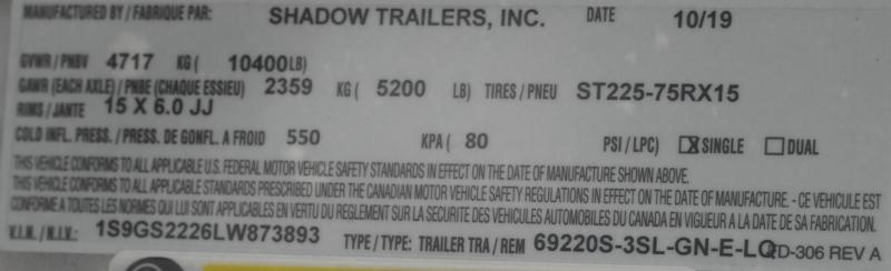 2020 Shadow Trailers 69220S-3SL-GN-E-LQ Horse Trailer