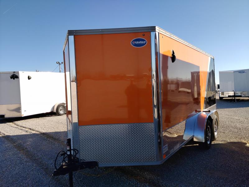 2021 United Orange/Black 7x14 Enclosed Motorcycle Trailer