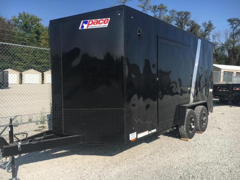 SIDE ESCAPE DOOR! -- 2021 Pace American 7.5x16 Enclosed Ramp Door UTV Trailer