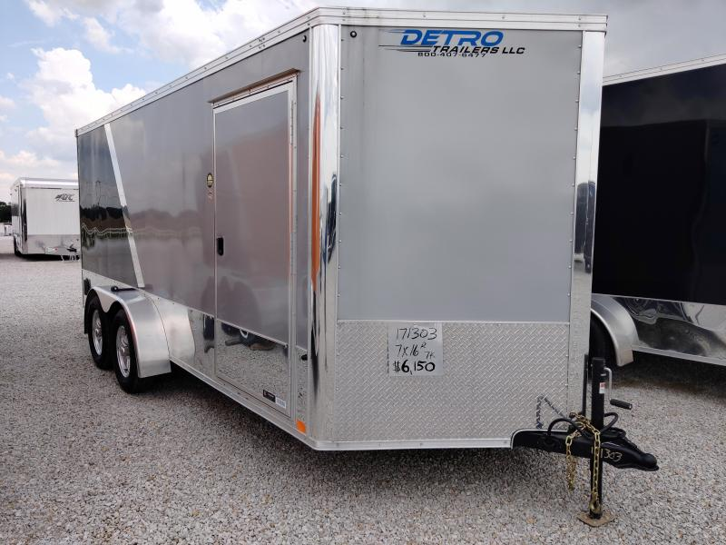 2020 United Trailers 7X16 Silver/Black Motorcycle Trailer