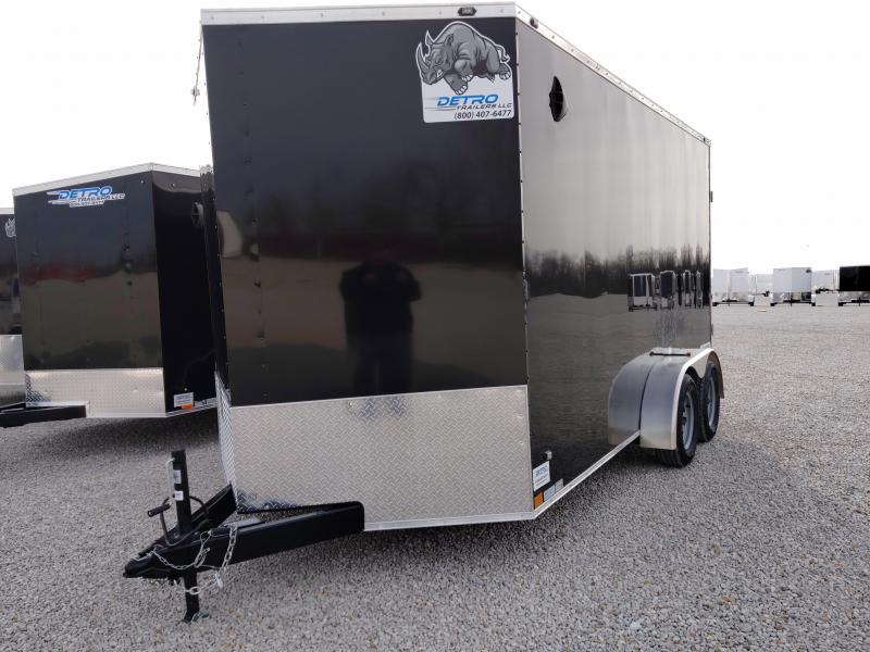 2021 Rhino 7x14 Enclosed Ramp Door Cargo Trailer