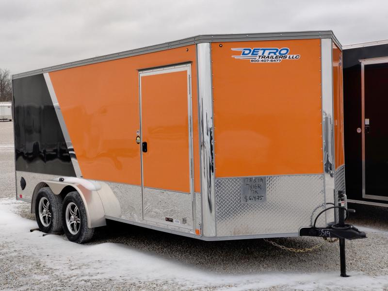 2021 United 7x16 Orange/Black 7K Motorcycle Trailer