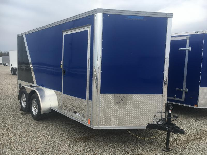 2021 United Royal Blue/Black 7x14 Motorcycle Trailer