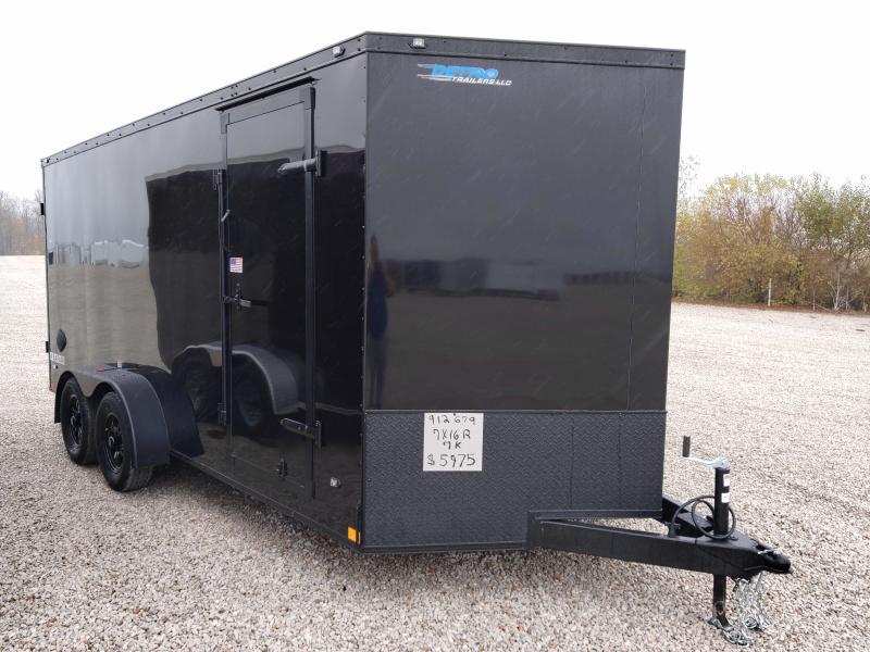 BLACKED OUT!! 2021 Rhino Trailers Safari 7X16 Enclosed Ramp Door Trailer