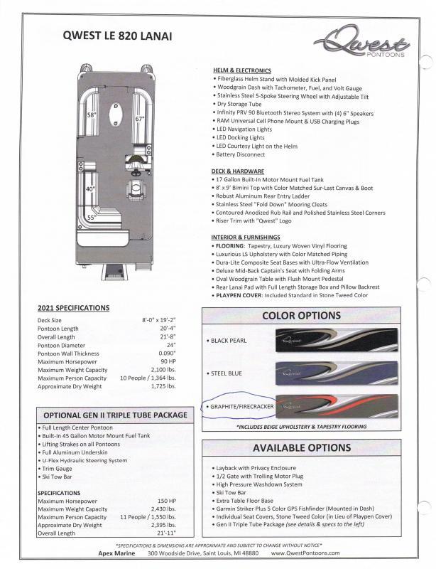 2021 Qwest LE 818 Lanai Pontoon Boat