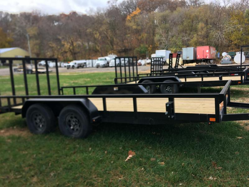 2021 H and H Trailer 82x16 Rail Side Utility Trailer 7K