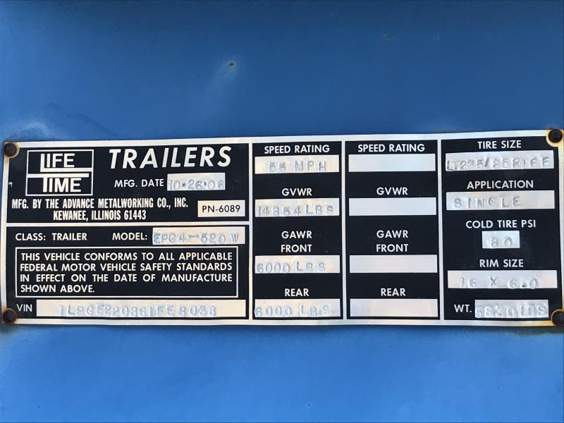 2006 Lifetime Trailers Lift-A-Load Equipment Trailer