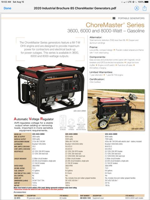 2021 - 4375 Watt Portable Generator