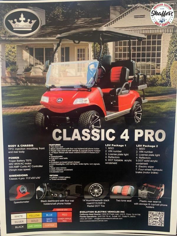 2021 Evolution Candy Apple Red Classic 4 PRO Golf Cart