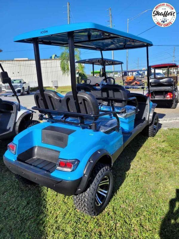 2021 Caribbean Blue ICON i40FL 4 Passenger Forward Facing Lifted Golf Cart