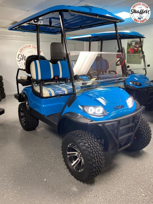 2021 ICON i40L Caribbean Blue Lifted Golf Cart