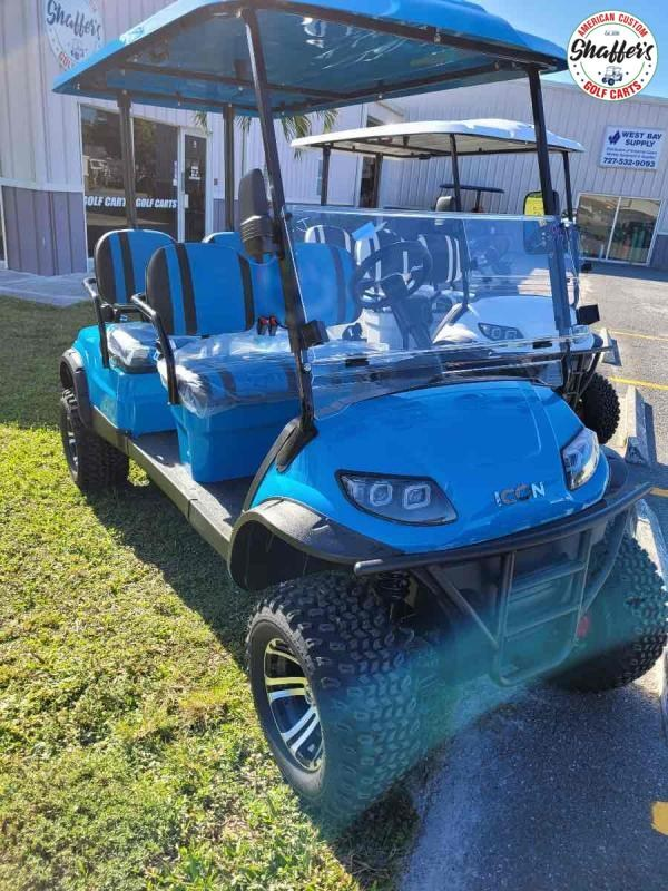 2021 Caribbean Blue ICON i40FL 4 Passenger Forward Facing Lifted Golf Cart