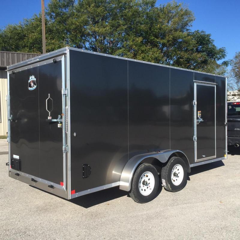 7x16 Charcoal V nose Big Horn Cargo Trailer