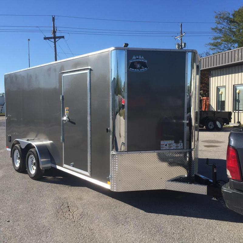 7x16 Charcoal V nose Big Horn Cargo Trailer