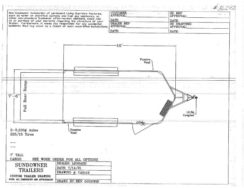 2022  16'  SUNDOWNER BUMPER PULL ENCLOSED CARGO TRAILER